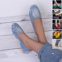 Женская повседневная обувь на плоской подошве. Лоферы на плоской подошве; Женская обувь; Мягкая джинсовая обувь 1