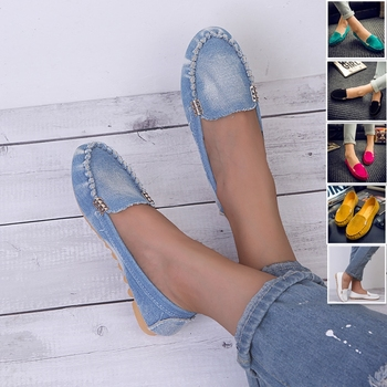 Женская повседневная обувь на плоской подошве; Сезон весна-осень; Лоферы на плоской подошве; Женская обувь; Мягкая джинсовая обувь на плоско...