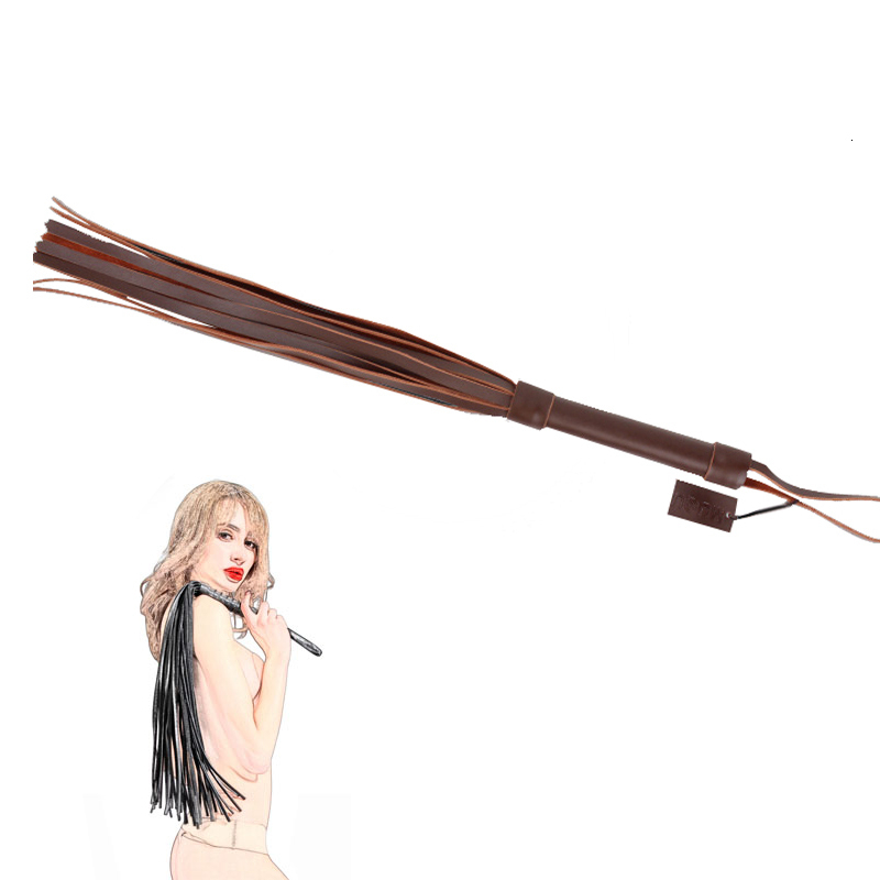 Adult Sex Toys For Women Bdsm 48cm Top Leather Flogger Horse Whip,Brown Spanking Flogger Whip, Flirting Spanker Sex Products