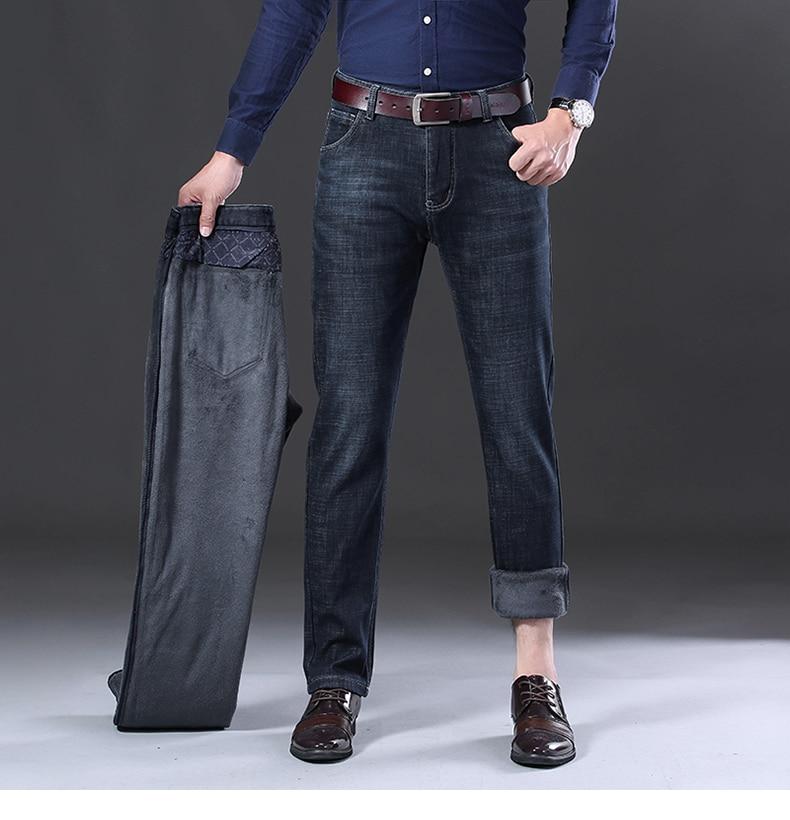 KSTUN Black Jeans Mens Jeans Brand 2019 Winter Warm Jeans Fleece Classic Straight Fit Stretch Business Casual Men Fashions Jean Hombre 11