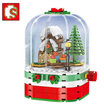 SEMBO Friends Christmas For Girl LED Light Rotating Box Santa Claus Figures City House Building Blocks Creator Toys for Kid Gift