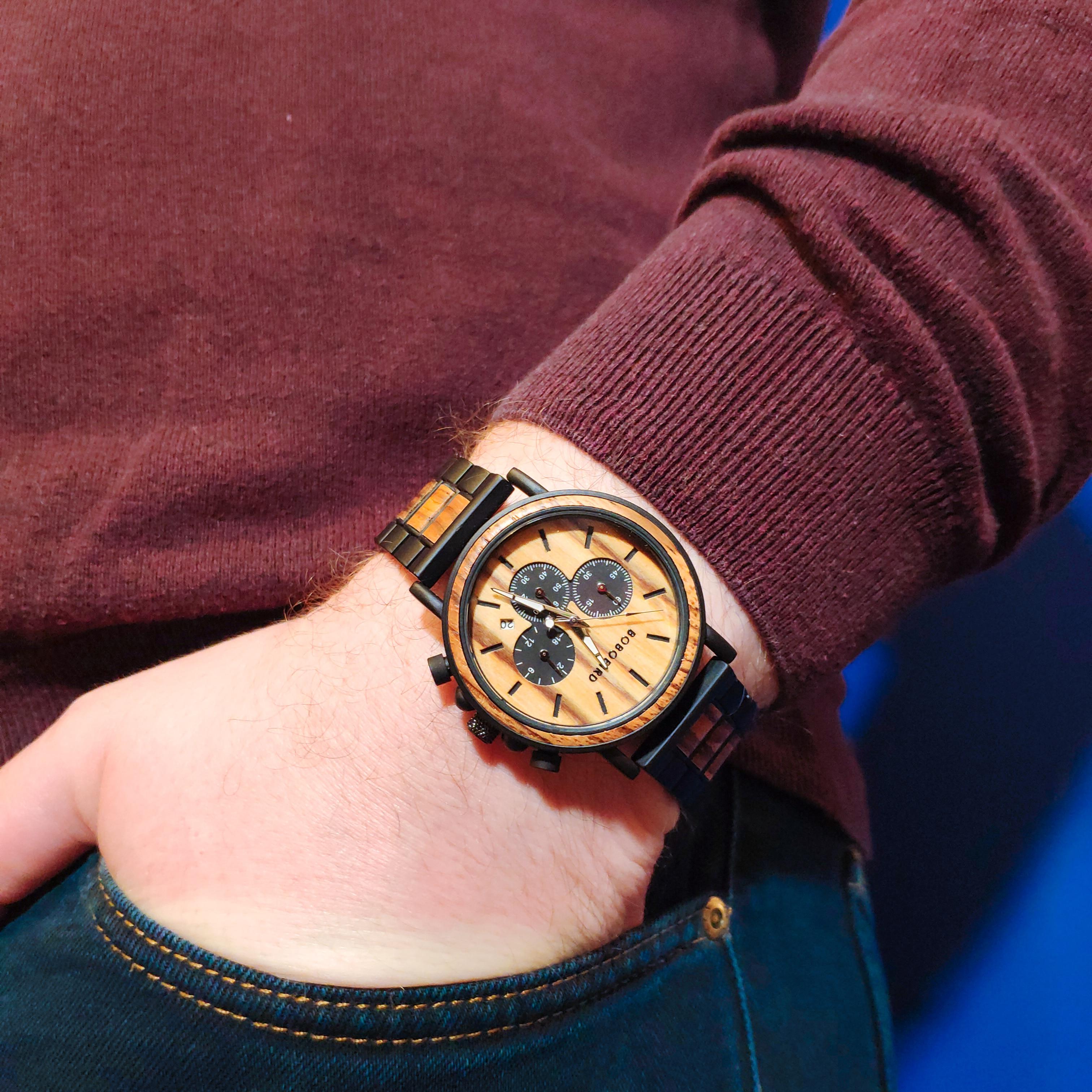 BOBO BIRD Wooden Watch Men erkek kol saati Luxury Stylish Wood Timepieces Chronograph Military Quartz Watches in Wood Gift Box 3