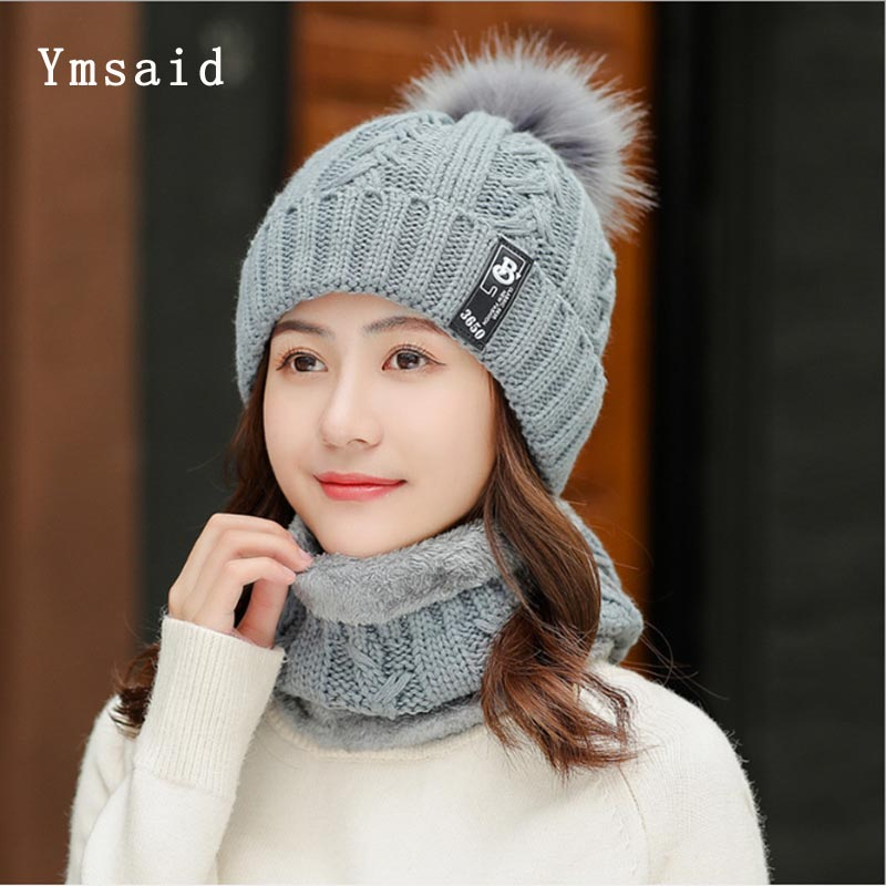 2019 New Knitted Winter Hat Scarf Set Women Thick Cotton Beanies And Ring Scarf Female Knitted Winter Accessories Girls Gift