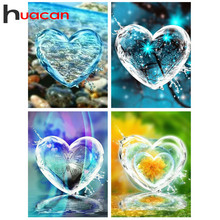 Huacan フル平方/ラウンドダイヤモンド塗装ハート 5D diy 刺繍モザイク風景キット装飾ホーム