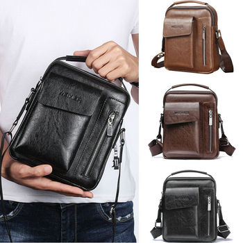 Crossbody Bags Men Zipper Solid Leather Briefcase Business Shoulder Bags Chest Bag USB With Hole Back Handbag Packs Purse aerlis men messenger shoulder bag canvas leather business briefcase casual solid zipper handbag male satchel crossbody bags 4506