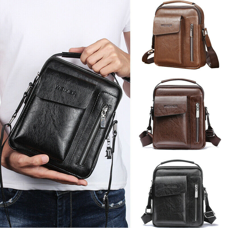 Crossbody Bags Men Zipper Solid Waist Bag Leather Shoulder Bags Chest Bag USB With Hole Back Handbag Packs Purse