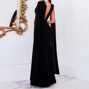 Image 5 - Элегантное осеннее облегающее длинное платье Adogirl без рукавов с глубоким V образным вырезом, женские сексуальные вечерние Клубные платья с открытой спиной, наряд, платья