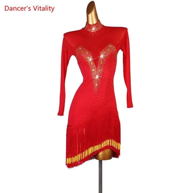 High-end Tassel Drill Latin Dance Dress Elegant Skirt Latin Dance Dress Adult/Child Latin Dance Dress New Latin Dress