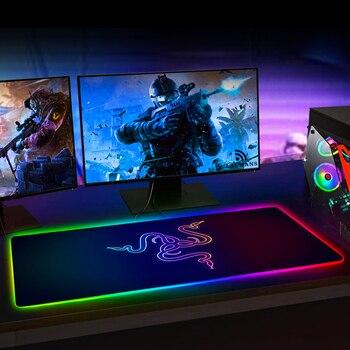 RGB игровой коврик для мыши Razer, большой светодиодный компьютерный геймерский коврик для мыши, большой коврик для мыши xxl, коврик для клавиатуры, Настольный коврик с подсветкой