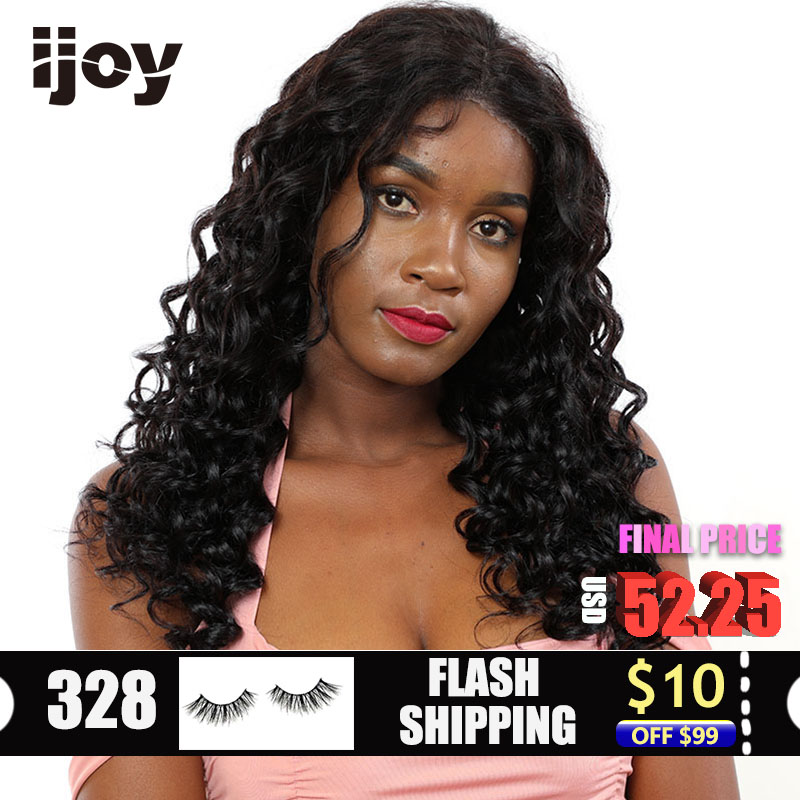"Water Wave Wig Human Hair Wigs 4x13 Lace Front Curly Wig Brazilian Hair Non-Remy Wigs Natural Black 12""-22"" Real Length Wig IJOY"