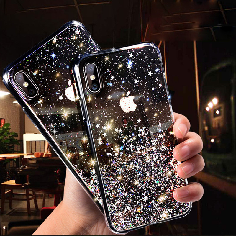 YISHANGOU Glitter Bling Pailletten Fall Für <font><b>iPhone</b></font> 11 8 7 Plus 6s Epoxy <font><b>Star</b></font> Transparent Fall Für <font><b>iPhone</b></font> <font><b>X</b></font> XR <font><b>XS</b></font> <font><b>MAX</b></font> Weiche TPU Abdeckung image