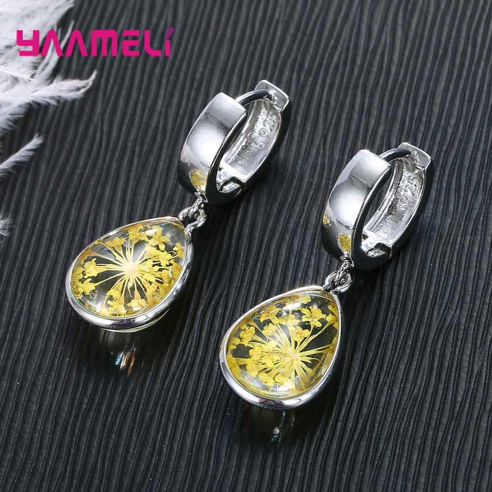 2020 nova moda mulher brincos sólido 925 prata esterlina flores em encantos de vidro dangler jóias 8 opções de cores