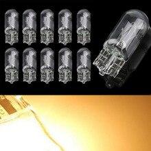 100pcs T10 W5W 194 12V 5W wedges clear car light source interior instrument lights halogen lamp Car Light Source
