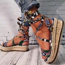 DORATASIA Big Size 35-43 Fashion Wholesale Snake Print Sandals Open Toe Platform