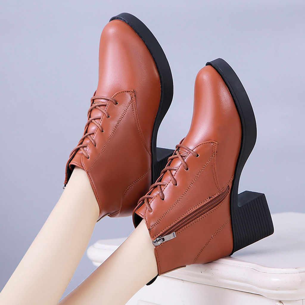 Sonbahar kış yarım çizmeler kadınlar için bayanlar moda deri kısa yarım çizmeler Lace Up fermuar kare kök kalın topuklu ayakkabılar