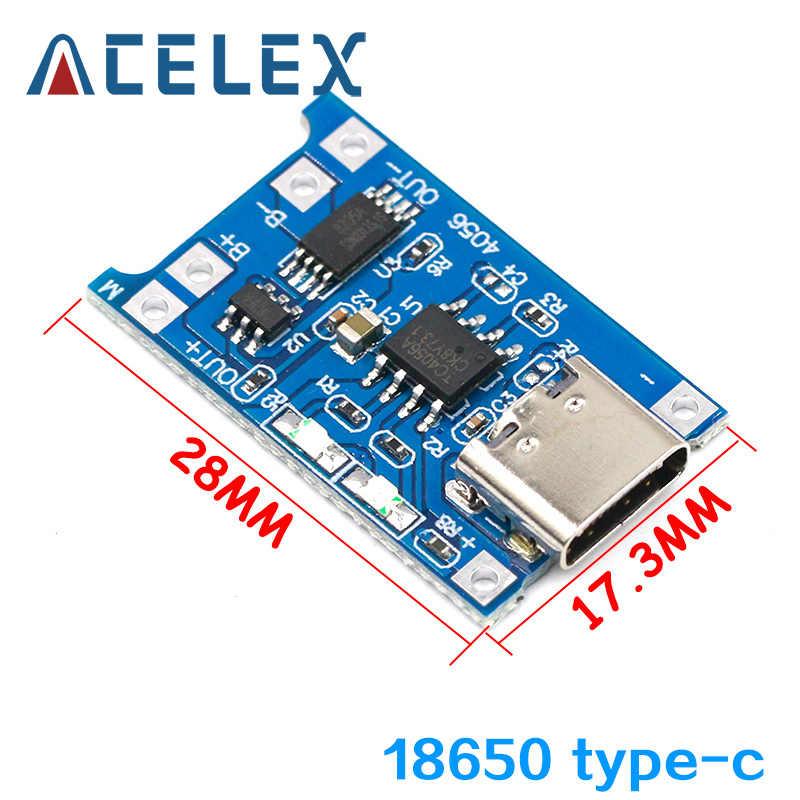 Type-C/Micro USB 5V 1A 18650 TP4056 Lithiumแบตเตอรี่โมดูลชาร์จชาร์จด้วยBoard Dualฟังก์ชั่น 1A Li-Ion