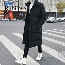 Rubilove Mens Long Down Jacket Coat Luxury Brand Winter Solid Black Parkas Men Plus Size 4XL Thick Warm Slim Fit Male Overcoat все цены