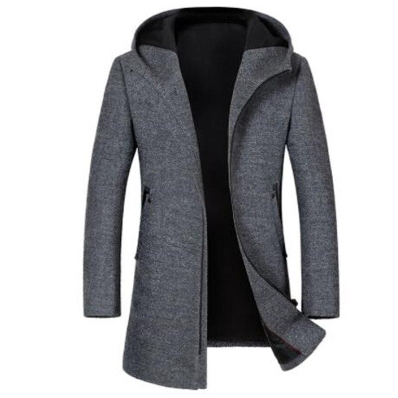 2018 Autumn New Style Men's High Quality Fashion Casual Jacket Men's Hooded Woolen Trench Coat Jackets Men Coat Windbreak