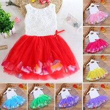 Летнее платье для маленьких девочек, платья из тюля с цветочным принтом, бантом и лепестками, кружевное платье для маленьких девочек, наряды...
