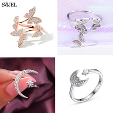 SMJEL Fashion Crystal Ring for Women Rhinestone Moon Star Butterfly Finger Rings Part Brand Ring Wedding Bridal Jewelry