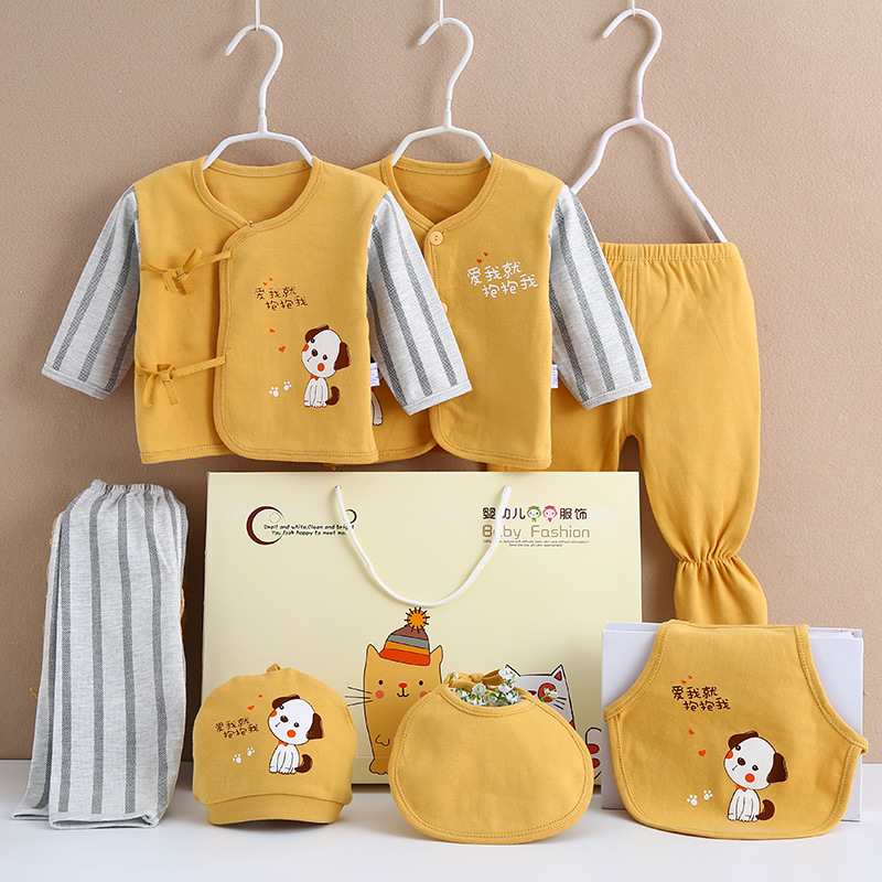 7 Pcs/Set New Born Baby Clothes Set Baby Clothing Cotton Baby Girl Boy Stuff for Newborn Infant Fall Clothes Set Gift Box