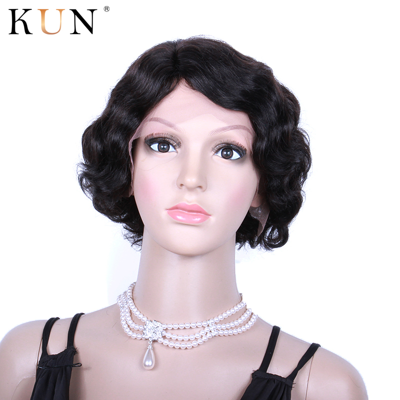 Short Human Hair Wigs Remy 13x4 Lace Front Human Hair Wigs Natural Wave 6-8