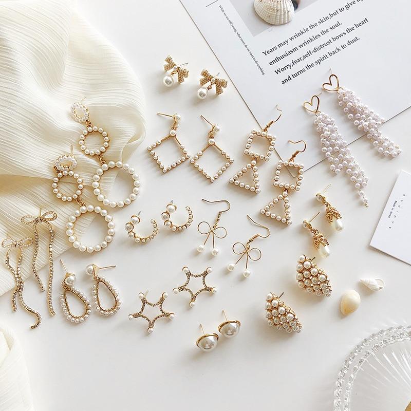 Abdoabdo Korean Pearl Earrings Set Trend Geometry Long Tassel Earrings Temperament Women's Earrings Pendientes Mujer Moda 2019