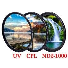 UV CPL ND ستار متغير ND2 1000 عدسة الكاميرا تصفية لكانون سوني نيكون dslr صور 18 135 50d 49 52 55 58 62 67 72 مللي متر