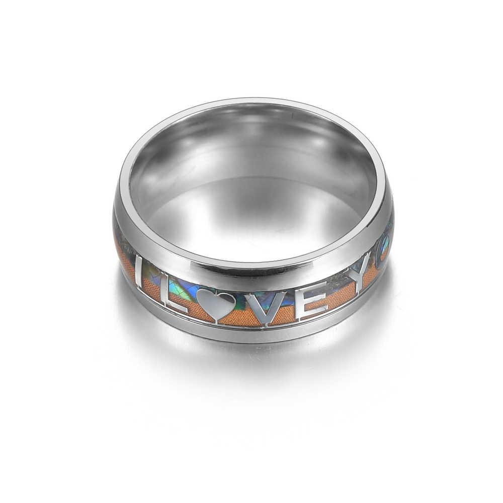 Romantique en acier inoxydable argent en bois réel je t'aime pour Couple anneaux bijoux pour femmes bague de fiançailles de mariage