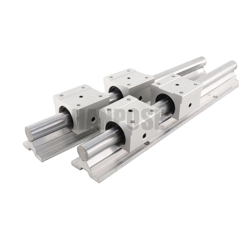2 pcs SBR16 L linear guide Linear rail shaft support and 4 pcs SBR16UU linear bearing blocks for CNC parts-in Linear Guides from Home Improvement    2