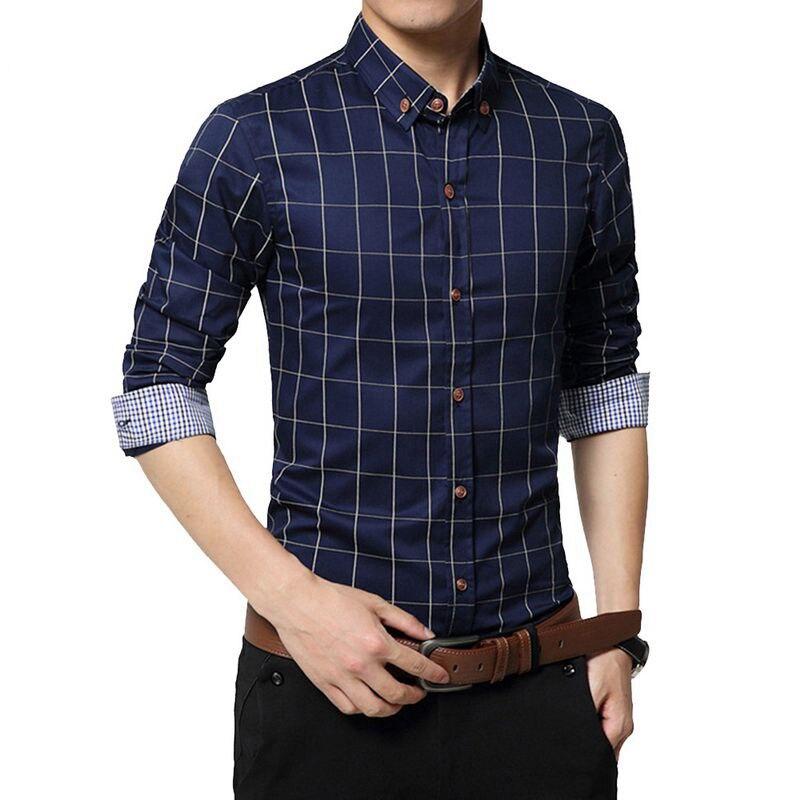 New Autumn Fashion Brand Men Clothe Slim  Men Long Sleeve Shirt Men Plaid Cotton Casual Men Shirt Social Plus Size 5XL