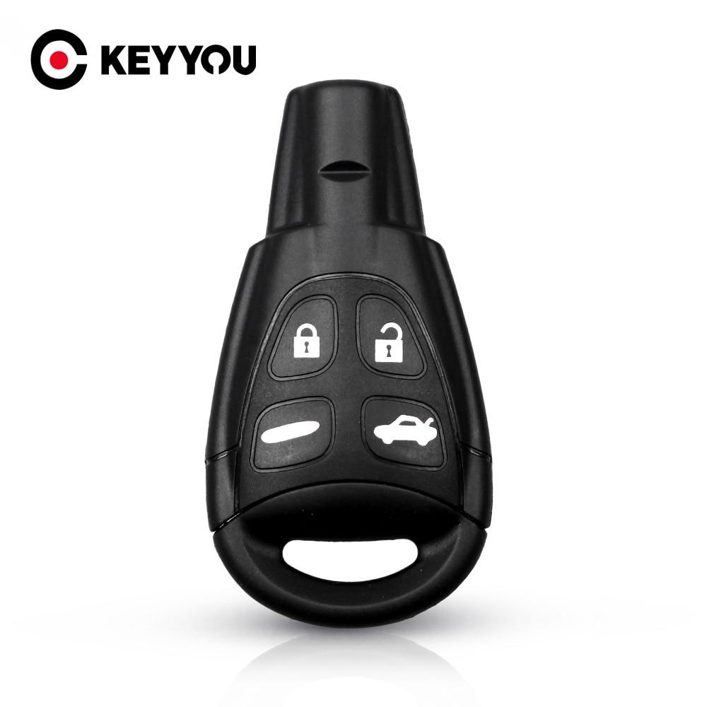Чехол KEYYOU для дистанционного ключа с 4 кнопками, чехол для SAAB 9-3 9-5 2003 2004 2005 2006 2007 2008 2009 2010, чехол для автомобильного ключа без ключа