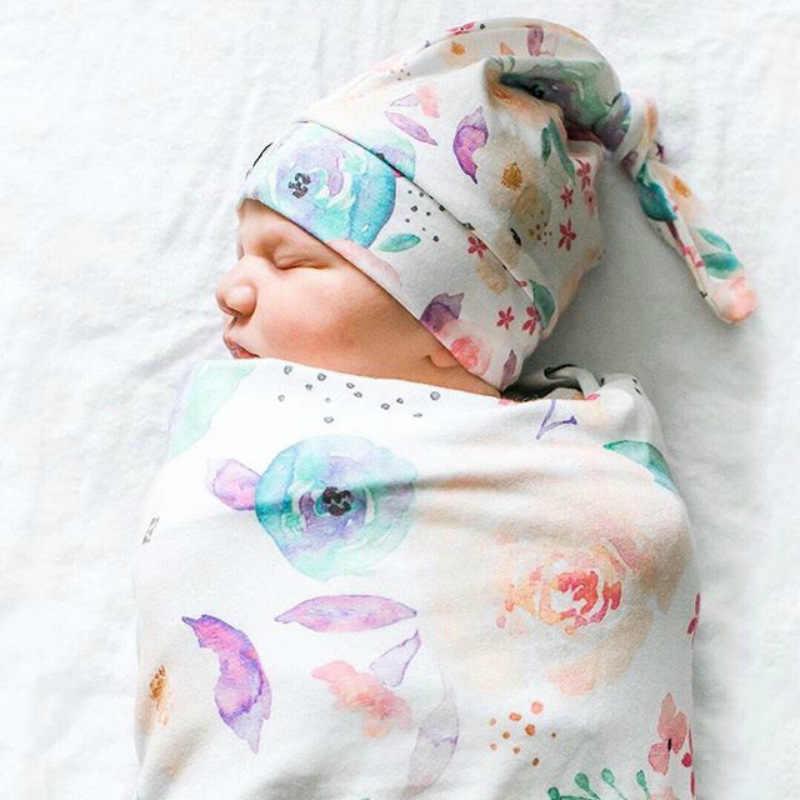 Noworodek zdjęcie rekwizytu koce dla dzieci noworodek niemowlę chłopcy dziewczęta śpiące przewijać muślinowy kocyk czapeczka niemowlęca z pałąkiem na głowę