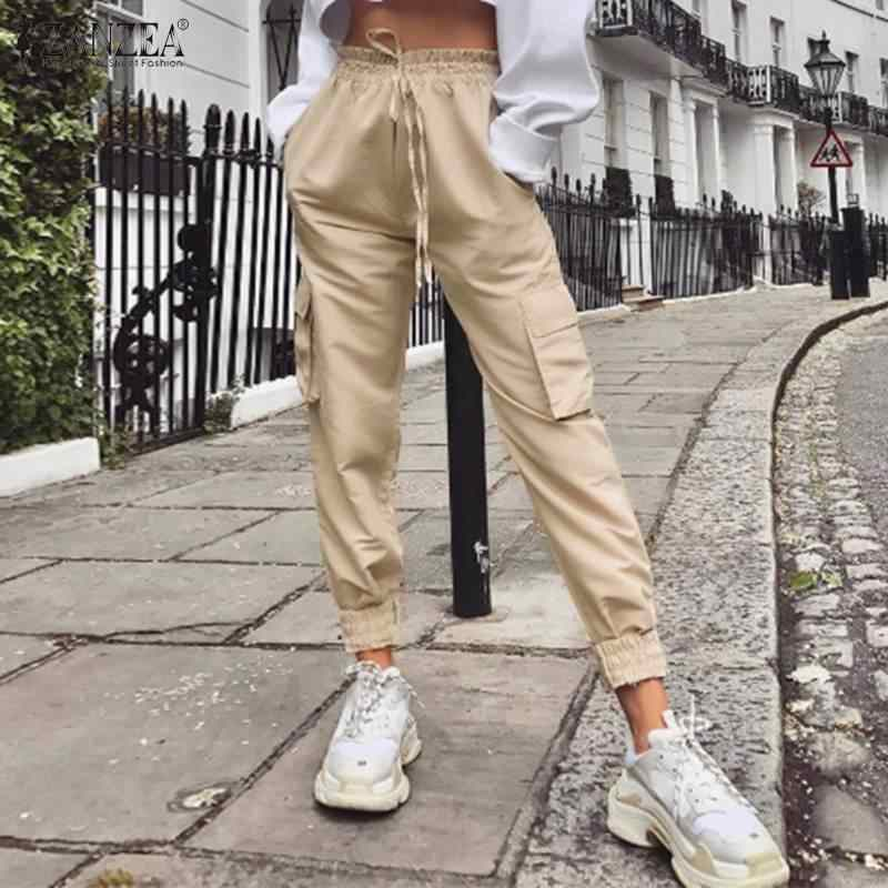 Zanzea Pantalones De Mujer 2020 Moda Senora Solido Alto Wiast Pantalones Casual Bolsillos Cargo Pantalones Mujer Pantalones Largos Streetwear Pantalones Y Pantalones Capri Aliexpress