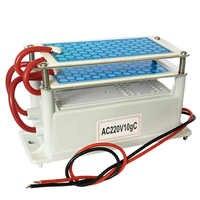 220 V 10g/5g generador de ozono de cerámica portátil doble placa de cerámica de larga vida integrada ozonizador de agua de aire limpiador purificador de aire
