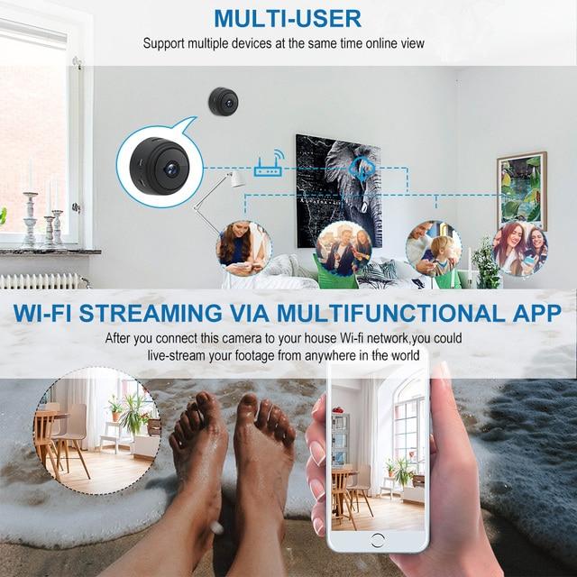 A9 1080P Wifi Mini Macchina Fotografica, telecamera di Sicurezza Home P2P WiFi Della Macchina Fotografica, Telecamera di Sorveglianza di Visione Notturna Senza Fili, monitor remoto Del Telefono App 4