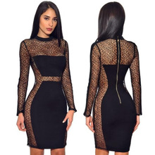 Women's Sexy Black Lace Seethrough Dress Long Sleeve Dresses Nightclub Singer Dj Rave Stage Wear Summer Clothes For Women DT1259