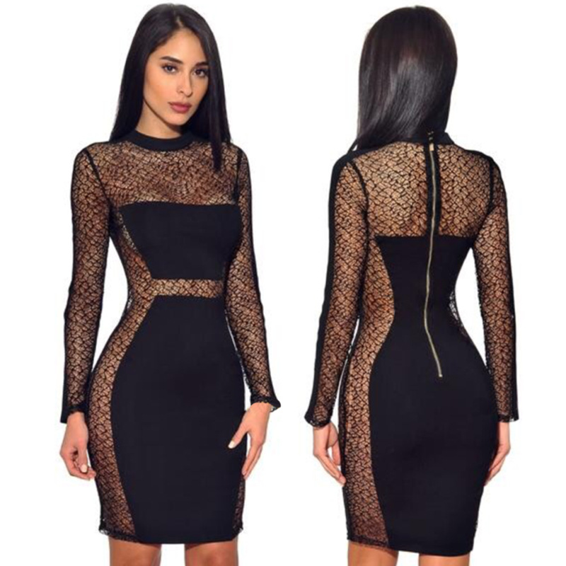 Women's Sexy Black Lace Seethrough <font><b>Dress</b></font> Long Sleeve <font><b>Dresses</b></font> Nightclub Singer <font><b>Dj</b></font> Rave Stage Wear Summer Clothes For Women DT1259 image