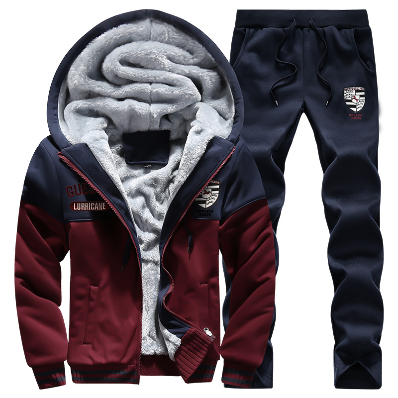 2017 New Style Men's Leisure Sports Suit Autumn And Winter MEN'S Sports Wear MEN'S Sweater MEN'S Suit Plus Velvet Thick