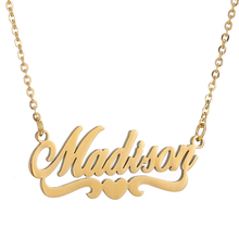 Custom Name Necklace Personalized Couple Heart Pendant Gold Stainless Steel Chain Wedding Gift for Women SKQIR Jewelry