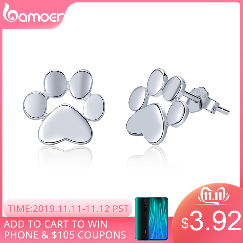 BAMOER 925 Sterling Silver Animal Dog Cat Paw Stud Earrings for Women Sterling Silver Footprints Valentine's Day Gift SCE407