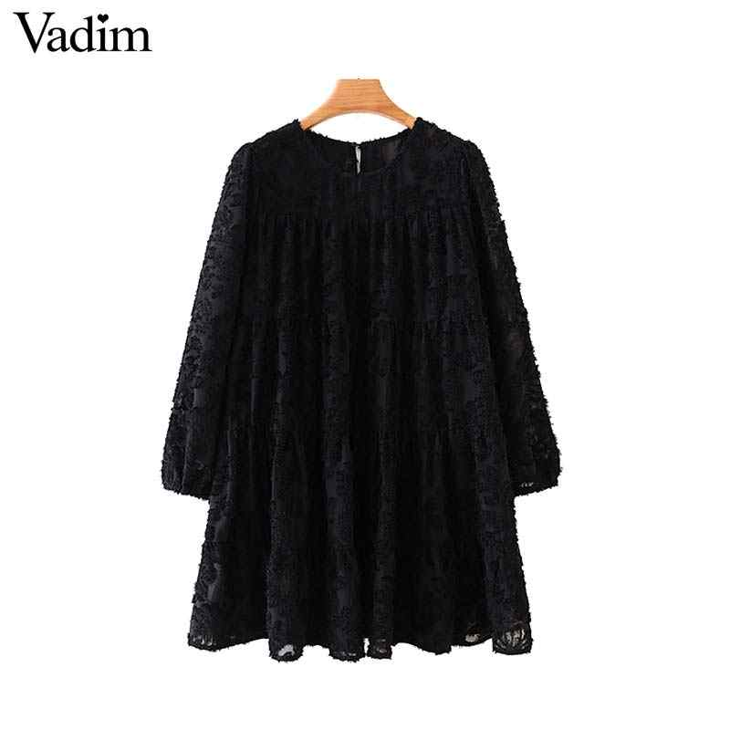 Vadim Nữ Thời Trang Mini Thẳng Phong Cách Tay Lửng Cổ Tròn Nữ Cơ Bản Cổ Áo Vestidos QC816