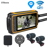 Vikewe Full Body Waterproof Motorcycle DVR Dash Cam WiFi 1080P FHD Front Rear View Motorcycle Camera GPS Logger Recorder Box