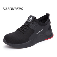 NASONBERG Outdoor Puncture Proof Safety Shoes Work Breathable Mens Steel Boots