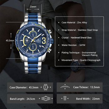 NAVIFORCE Mens Quartz Multifunction Chronograph Sports Watches Fashion Waterproof Military Top Luxury Stainless Steel Wristwatch 4
