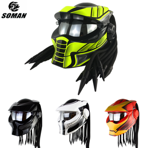 SOMAN Cool Predator Helmet DOT Approved Men Retro Moto Helmet Predator Custom Full Face Motorcycle Helmets Black Braid Cascos