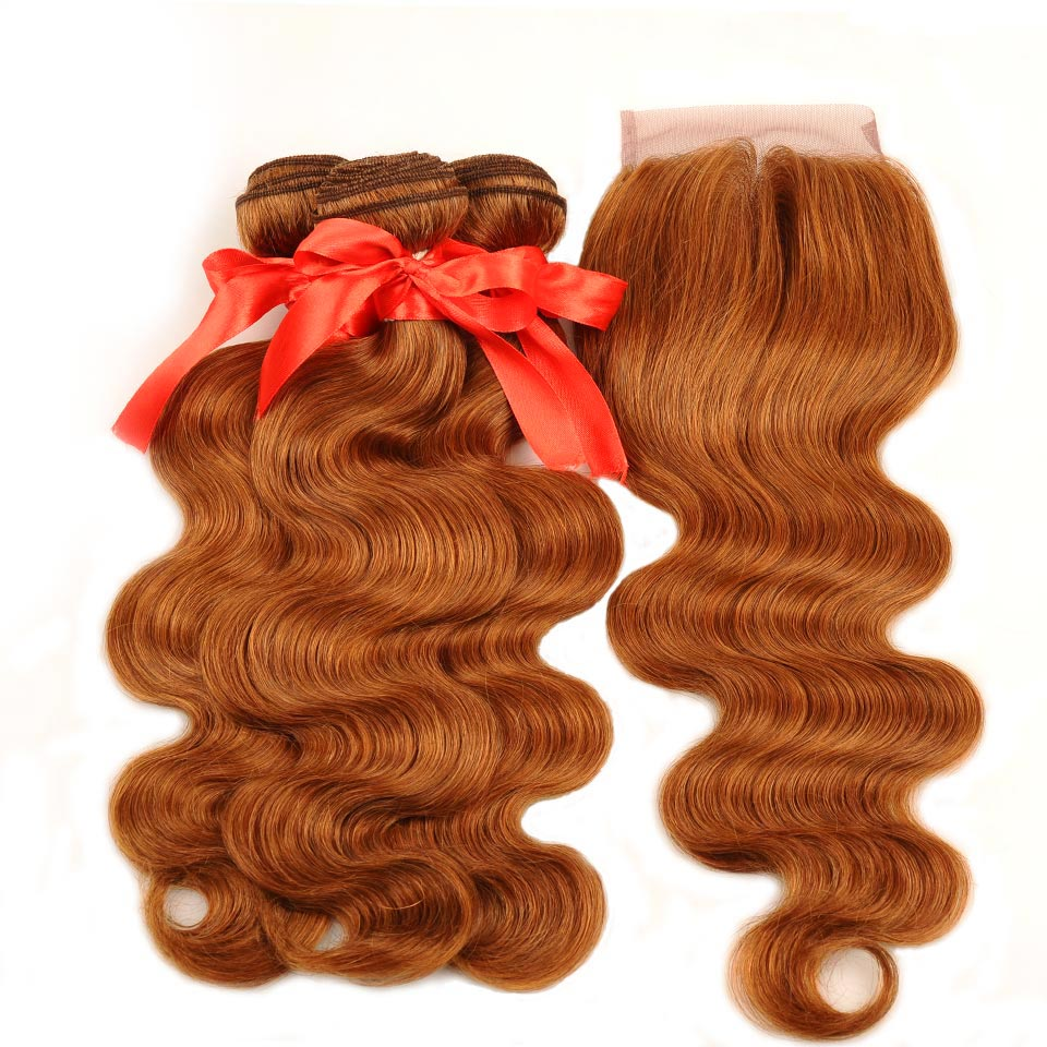 Pinshair Hair Colored 30 Honey Blonde Bundles With Closure Body Wave Peruvian Human Hair 3 Bundles With Closure Non Remy No Shed (7)