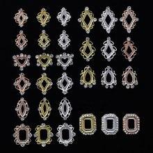 100Pcs Diamant Teile 3 Farben Metall Charme Metall Deco Charme Nagel Kunst zirkon aushöhlen dekorationen nail art Metall schmuck, h566