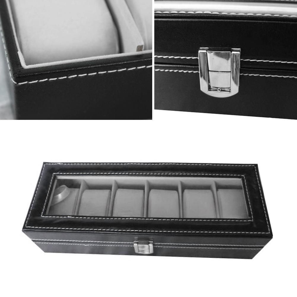 Professional 6 Grid Slots Jewelry Watches Display Storage Square Box Case Aluminium Container 2017 New Arrivals