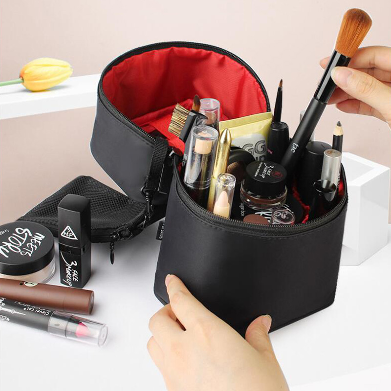 Portable Three-Dimensional Makeup Kit Cylindrical Storage Bag Multi-Function Kit Travel Cosmetic Case Double Zipper Cosmetic Bag